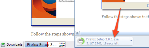 Monitore os downloads na Barra de Status do Firefox