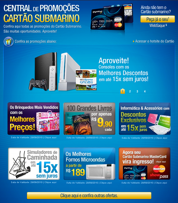 As melhores promoções do Cartão Submarino