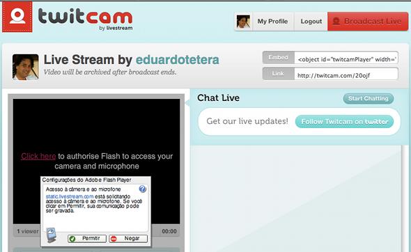 Como fazer sua transmissão via Twitcam