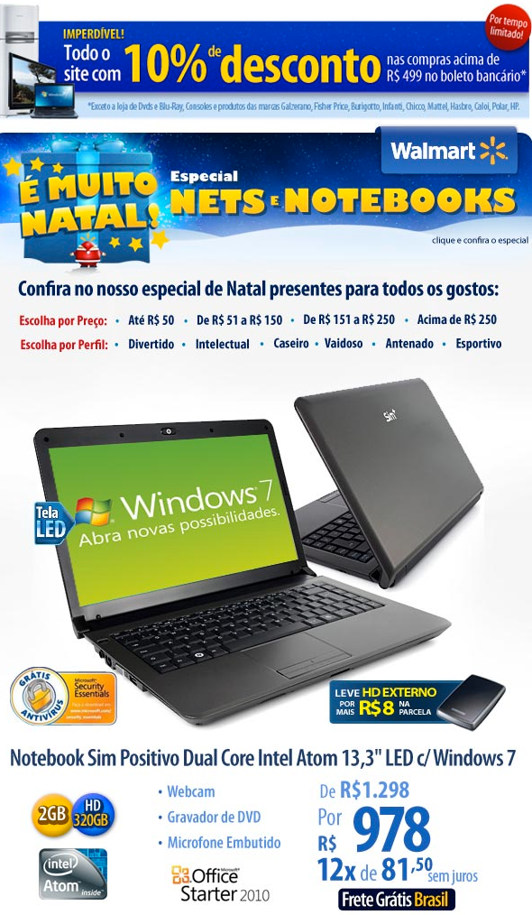 Notebook 320GB, Windows 7 só 978 reais